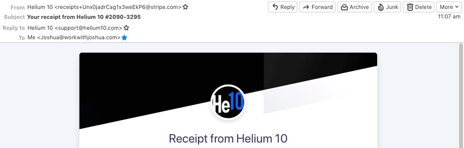 Helium 10 receipt